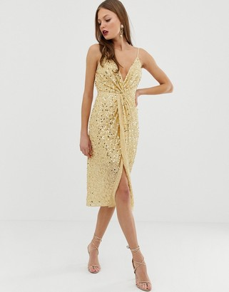 Asos Design DESIGN midi strappy cami dress with knot front plunge in scatter sequin-Gold