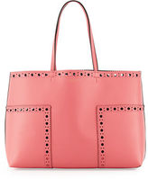 Tory Burch Block-T Brogue Leather Tote Bag