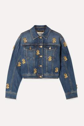 Moschino Cropped Embellished Denim Jacket - Mid denim