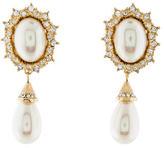 Christian Dior Crystal & Pearl Drop Clip-On Earrings
