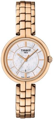 Tissot T0942103311101 Women's Flamingo Date Bracelet Strap Watch, Rose Gold/White