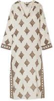 Tory Burch Hooded Printed Linen Kaftan - White