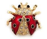 Avalaya Black/Red Enamel Crystal Lady Bug Brooch In Plated Metal - 2cm Length