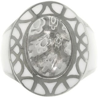 Carolina Glamour Collection Stainless Steel White Murano Glass Flower Ring