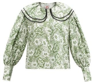 Shrimps Amelia Floral-print Oversized-collar Silk Blouse - Green