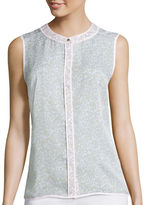 Liz Claiborne Sleeveless Piped Shirt