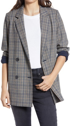 Madewell Women's Caldwell Miltmore Plaid Double Breasted Blazer