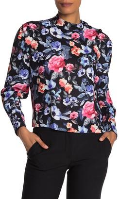 Rebecca Minkoff Trudy Floral Mock Neck Blouse