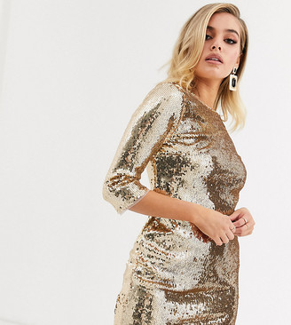 TFNC sequin mini bodycon dress in liquid gold