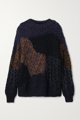 The Row Abboi Oversized Intarsia Open-knit Sweater - Black