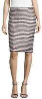 St. John Vany Tweed Knit Pencil Skirt, Gold