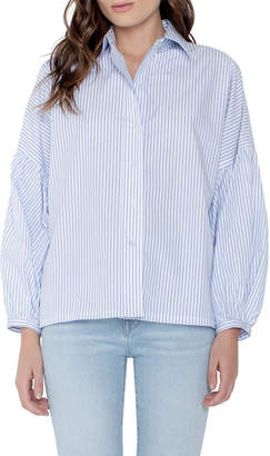 Parker Smith Braxton Striped Button-Down Long-Sleeve Blouse