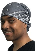 Uptown Girl Headwear Mens Motorcycle Bandana Classic Paisley Design Pre Tied Fitted X-Large