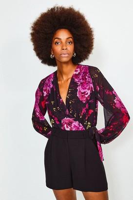 Karen Millen Floral Print Drama Wrap Body