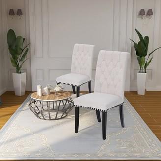 Charlton Homeâ® Fatima Tufted Linen Upholstered Parsons Chair Charlton HomeA Upholstery Color: Beige