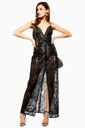 Topshop Womens Black Embellished Plunge Sheer Maxi Dress - Black