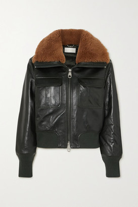 Chloé Shearling-trimmed Leather Jacket - Dark green