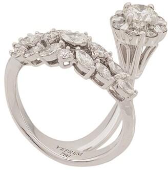 YEPREM 18kt White Gold Diamond Cluster Ring