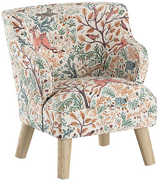 One Kings Lane Kira Kids' Accent Chair - Pink Frolic Linen - frame, natural; upholstery, blush/multi