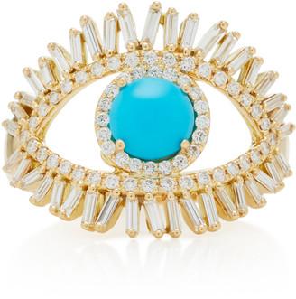 Suzanne Kalan 18K Yellow Gold, White Diamond and Turquoise Evil Eye Ri