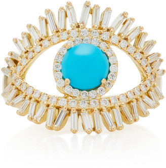 Suzanne Kalan 18K Yellow Gold White Diamond and Turquoise Evil Eye Ring