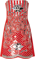 David Koma Strapless Floral Embroidered Dress
