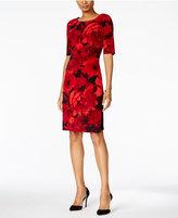 Connected Floral Faux-Wrap Sheath Dress
