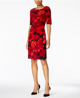 Connected Petite Floral-Print Ruched Dress