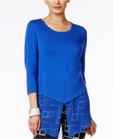 Alfani Petite Layered-Look Chiffon-Hem Top, Only At Macy's