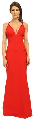 Jill Stuart Jill Women's Deep-V Fitted Elastane Gown