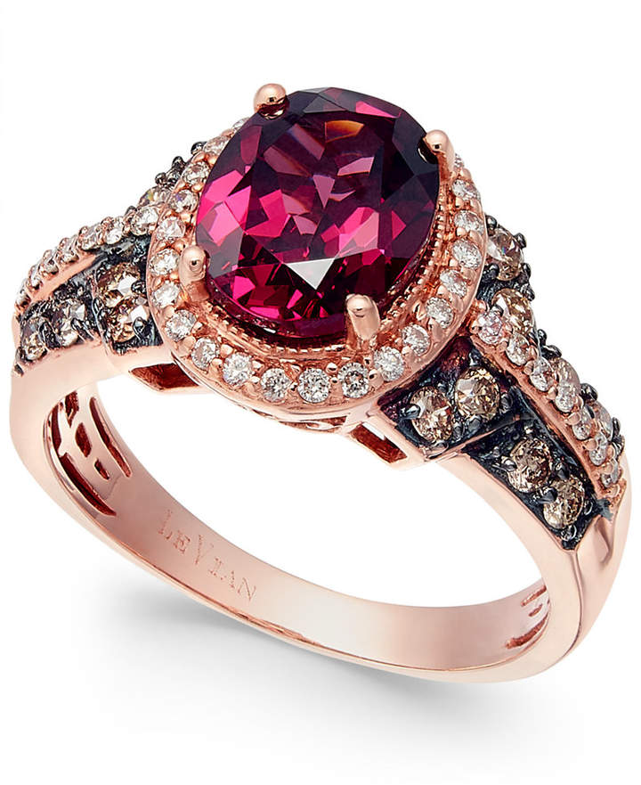 LeVian Le Vian Raspberry Rhodolite Garnet, Chocolate and White Diamond Oval Ring (2-3/4 ct. t.w.) in 14k Strawberry Rose Gold