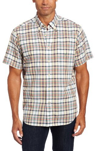 Nautica Men's Short Sleeve Slub Poplin Plaid Shirt