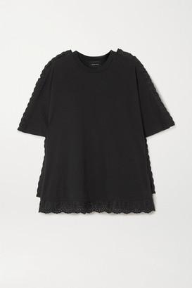 Simone Rocha Lace-trimmed Cotton-jersey T-shirt - Black