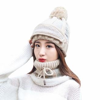 Boiyi Hat 3-in-1 Women Winter Warm Thick Knit Beanie Hat Scarf Mask