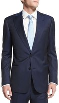 Armani Collezioni G-Line Textured Tonal-Striped Wool Suit, Navy
