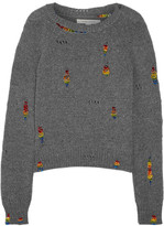 Marc Jacobs Bead-embellished Distressed Wool And Cashmere-blend Sweater - Gray