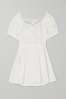 Innika Choo Embroidered Fil Coupe Ramie Mini Dress - White