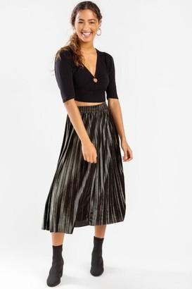 francesca's Clarah Satin Pleated Maxi Skirt - Black