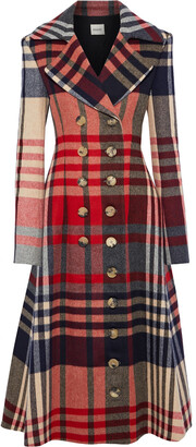 KHAITE Christina Double-breasted Checked Wool And Cashmere-blend Coat