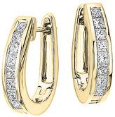 Golden Moon Women's Earrings Gold - Cubic Zirconia & 14k Gold-Plated Princess Huggie Earrings