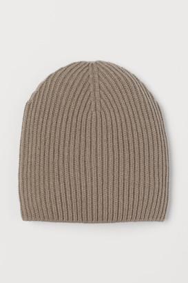 H&M Rib-knit Wool-blend Hat - Beige