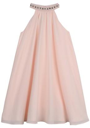 Belle By Badgley Mischka Girl's Embellished Chiffon Halter Dress