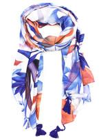 East Cloud Women's Accent Scarves BlueOrange - Blue & Orange Floral Tassel-Accent Scarf
