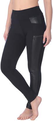 Isadora Women's Leggings BLACK - Black Faux Leather Panel Zip-Pocket High-Waist Leggings - Women & Plus