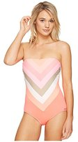 Vince Camuto Women's Camellia Stripe Lace Back Bandeau One Piece Swimsuit with Removable Soft Cups