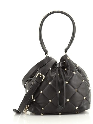 Valentino Rockstud Top Handle Bucket Bag Quilted Leather Small