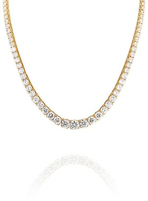 Bling Jewelry Bridal Cubic Zirconia Graduate Round Solitaire Statement AAA CZ Tennis Necklace For Women For Prom 14K Gold Plated Brass