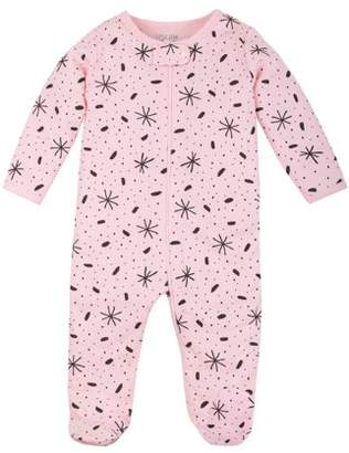 N. Little Star Organic Baby Girl Pure Organic Soft Cotton Thermal Footed Sleep 'N Play Pajamas