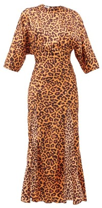 ATTICO Side-slit Leopard-print Satin Dress - Animal