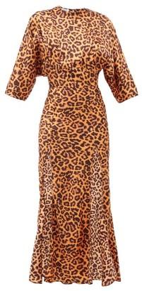 ATTICO The Side-slit Leopard-print Satin Dress - Womens - Animal